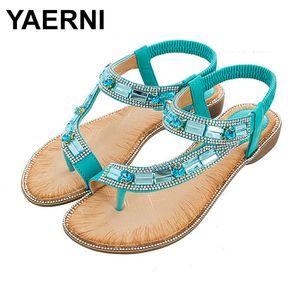 Sapatos YAERNI Ladies Verão Bohemian Estilo Azul Vermelho Moda Sandals Mulheres Malha Stripe Praia Shoes Plano Sole Zapatos de mujer