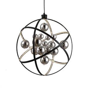 Современный черный металл водить свет подвеска Chrome стеклянный шар Гостиная водить подвеска лампа Столовая Подвеска Свет LED висячие огни