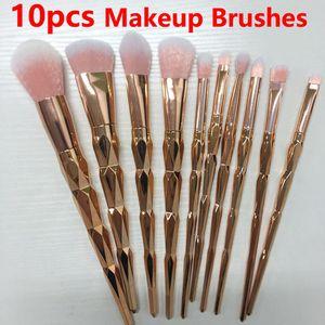 HOT Makeup Brush 10pcs Set Professional Blush Powder Makeup Brush Ceja Sombra de ojos Labio Nariz Rose Gold Blending Make Up Brush Herramientas cosméticas