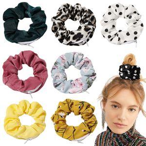Silky Scrunchies Zipper Hair Scrunchies Women Satin Scrunchy Dot Elastic Hair Bands Girls Headwear Floral Hair Ties Small Bag