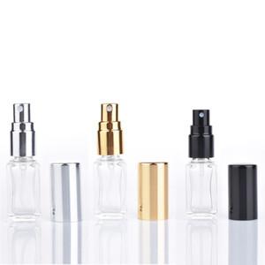 5 ML 1/6 Oz Longo Fino Perfume Atomizador Quadrado Vazio Recarregável de Vidro Transparente Garrafas De Pulverização Pulverizadores de Viagem Pulverizadores