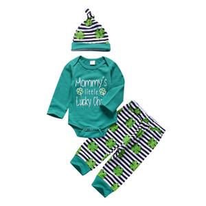Bébé Garçon Quatre Feuilles Trèfle Vert À Rayures Vêtements Outsort Barboteuse Chapeau Chapeau Trois Pièces bébé Vêtements Maman Petit Chanceux Charme Enfant 0-24 M