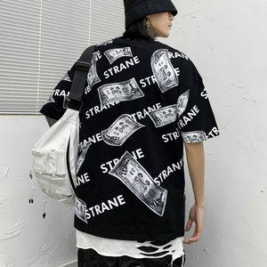 Guochao Rua Hip-hop de mangas curtas T-shirt Homens Ins Popular Marca completa de Letter Impressão Cool Money T-shirt solto meia manga