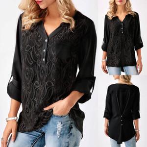 Лето женщин V-образным вырезом Цветочные вязание крючком офиса OL рубашки кофточки с длинным рукавом Повседневная Сыпучие шифон блузки рубашки рабочая одежда Одежда