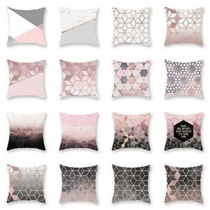New Simples Rose ouro geométrico sofá fronha Jacquard Imprimir Sofá Capa de Almofada Home Decor Abraço Pillowcase Escritório Capa de Almofada Diy
