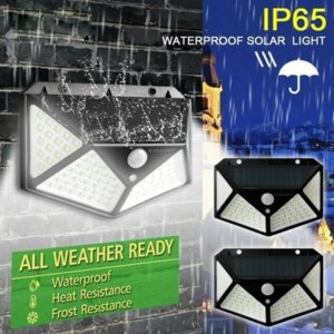 Umlight1688 Solar Lights Outdoor 100 Led Bright Motion Sensor Light Wide Angle Wireless Waterproof IP65 Wall Lights for Garden Wall Street
