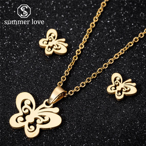New Cute Butterfly Pendant Chain Necklece Stud Earring Set For Women Girl Gold Silver Stainless Steel Dangle Earring Necklece Jewelry