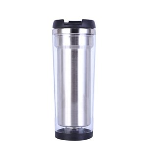 400ml DIY Photo Insert Stainless Steel Tumbler, Coffee Cup, Double Wall Travel Mug with Straw Lid