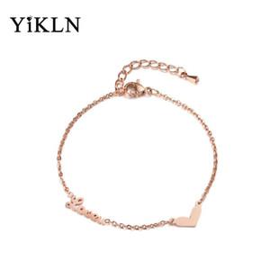 YiKLN Trendy Rose Gold Heart Shape & Lover Charm Bracelet Bangles Jewelry Titanium Steel Chain Link Bracelets For Women YB18006