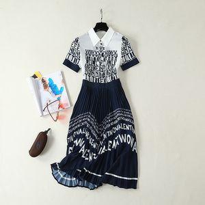 Brand Same Style Dress Flora Print Lapel Neck Short Sleeve Mid Calf Empire Fashion Prom Dresses Free Shipping
