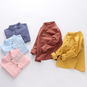2019 New Style Plain Color CHILDREN'S Shirt Baby Pure Cotton Coat Men And Women Children Kids Clothing