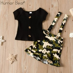 Humor Bear Summer 2020 New Girl Clothes Set Short Sleeve Button Top +Camouflage Skirts 2pcs Suit Toddler Kids Clothes Outfit T200707