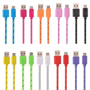Typ-C USB-Kabel 3.1 Micro-V8-Runde Stoff Nylon geflochten usb Daten-Ladekabel für Nokia LeTV N1 One plus 2 für lg g5