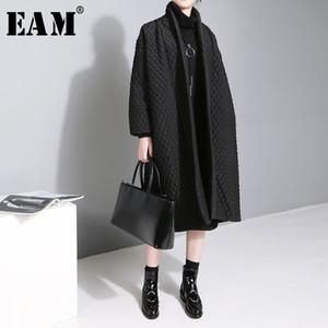 [EAM] 2019 Yeni Büyük Beden Mizaç Katı Renk Uzun kollu Uzun Paragraf Pamuk Ceket Kadın WTH CJ191214