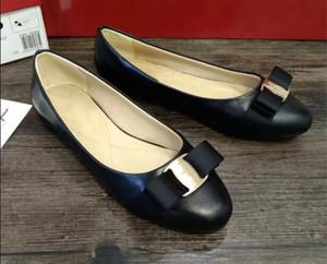 Livraison gratuite Nouveaux femmes Flats Chaussures de marque Véritable ballet en cuir femme Bow Tie Designer Flats Ladies Zapatos Mujer Sapato Feminino