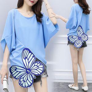 Orgreeter Plus Size 5XL blusas y blusas para mujer Camisas de gasa suelta azul Bordado de mariposa Manga de murciélago Tops elegantes