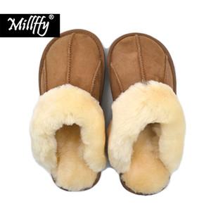 Millffy Nouvelle Peau De Mouton Nouvelle Maison Pantoufles Homme Pantoufle Mode D'été Coréenne Intérieur Climatisation Pantoufles T190710