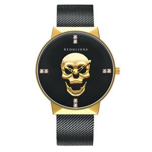 relógio dos homens simples, popular moda do comércio exterior do crânio preto cinto de malha de metal criativas Tendência Sports relógio de quartzo