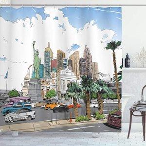 Hooks ile Liberty Otomobil Palms Banyo Dekor Set ABD Duş Perde El Çizimi Las Vegas Şehir Nevada Sokak Kroki Binalar