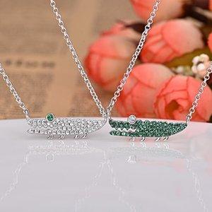 Europäische und amerikanische Halskette mit eingelegter mintgrün Kristall-Diamant-Halskette Persönlichkeit weiblichen Mode-Schmuck Krokodile