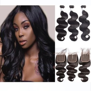 10A Virgin Mink Brazilian Body Wave Human Hair Bundles With 4x4 Lace Closure Unprocessed Body Wave Wefts Free Shipping