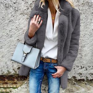 Bella felsefesi 2018 Sonbahar ve Kış Zarif Shaggy Kadınlar FauxFur Coat Steetwear Teddy Coat Kadın Artı Boyutu Turn-down