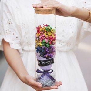 Valentine Day Gift LED Light Dried Flower Lavender Babysbreath Decorative Ornament Bouquet Girlfriend Birthday Gift 3 Styles YFA334
