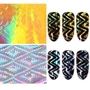 Holographischen 3D Nail Sticker Laser-Streifen Adhesive Ultra Thin Nagelfolientransfer Aufkleber zufälliges Muster-Nagel-Kunst DIY Designs