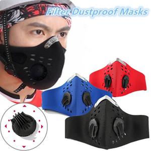 Máscara facial reutilizable con el filtro del respirador de válvula PM 2.5 Boca máscara anti polvo al aire libre Deportes al aire libre protector de la motocicleta de la bicicleta 3738