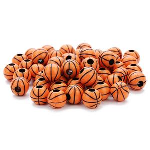 50 جهاز كمبيوتر شخصى / لوط فضفاض الخرز مثقوبة النتائج اللون البرتقالي لكرة السلة شكل الاكريليك البلاستيك الخرز فضفاض مجوهرات مكونات الاكسسوارات