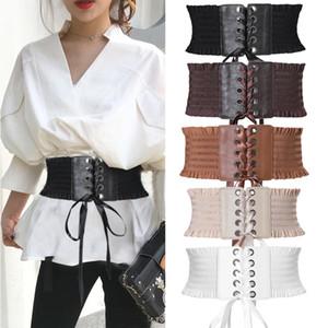 Women Up Elastic Faux Ladies Soft PU Leather Wrap Around Tie Corset Cinch Waist Wide Waistband Corset Stretch Cross Dress Belt