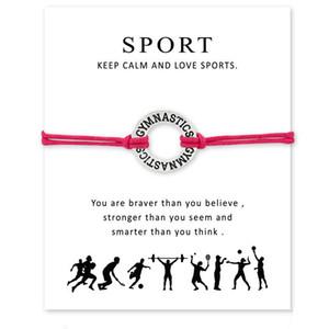 Main Corde GYMNASTIQUE Charme Bracelets pour Femmes Hommes Déclaration D'amitié Meilleur Vœux Bijoux Cadeau Avec Carte Livraison Gratuite