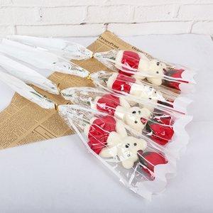 С милый медведь искусственный цветок для День Святого Валентина моделирования мыло розы цветы много цветов один букет популярные 8 5KY BB