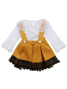 Neonate vestiti Set pagliaccetti + Bow Suspender Skirt 2 PCS Lace Boutique Ins Autunno a maniche lunghe pagliaccetto
