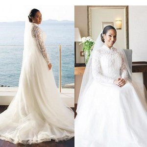 Vintage African Long Sleeve Wedding Dresses 2020 Applique Lace Wedding Gowns A Line High Neck Customize Bridal Dress