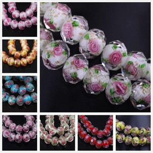 80Pcs Lampwork Faceted Flowers Glass Beads 10*8mm Floral Rondelle Charm Accessories for DIY Jewelry Making Bracelet Pendant Necklace