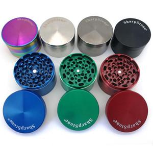 Alta qualità Sharpstone Grinder Herb Grinder di metallo in lega di zinco Tabacco erbe Grinders 4 strati diametro 40mm 7 colori dell'arcobaleno