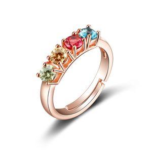 R161 lüks Yüzükler dört renk dairesel takı kadın Yeni Stil Kadınlar Için gül altın kristal hediye yüzük
