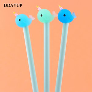 2 Pcs lot Cute Kawaii Narwhal Gel Pen Signature Pen Escolar Papelaria School Office Supply Promotional Gift