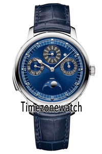 Nuovo Patrimony Contemporaine 43175 / 000R-B519 Caso Blue Moon Phase automatico Mens Watch in acciaio quadrante blu cinturino in pelle Timezonewatch E47b2