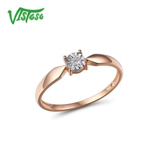 VISTOSO Pure 14K 585 Two-Tone Gold Sparkling Illusion-Set Miracle Plate Diamond Ring For Women Anniversary Trendy Fine Jewelry T200701