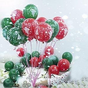 10inch 2.2 g 100Pcs/package Christmas Printed latex balloon Santa Claus Snowflake red and green ballon Christmas decoration