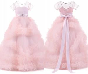 2020 Blush Pink девушка Pageant платье Рождественских платьев для девочек оборок из бисера Jewel шеи бального платья девушки цветка платье Bow На складе Дешевой