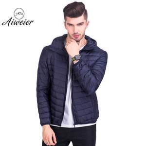 [Aiweier] Hombre chaquetas ultraligero por la chaqueta delgada de la cremallera sólido más la camiseta floja mantener caliente capucha Casual Male capas Outwear