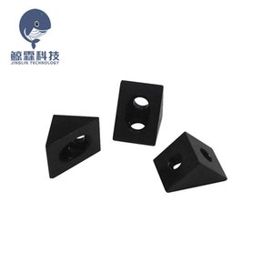 Printing 3D Printer Parts & Accessories 4pcs lot V-slot Black Angle Corner Connector 90 degree Angle Bracket for openbuilds CNC mill...