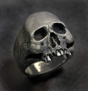 Vintage 316L Stainless Steel Skull Silver Ring Mens Skull Biker Rock Roll Gothic Punk Jewelry Ring US Size 7-14