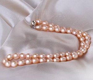 10-11mm South Sea Baroque Gold Pink Pearl Necklace 18 Inch 925 Silver Accessories