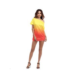 Designer de Verão Womens Gradiente T-shirts Impresso manga curta soltas Tees Lady Sexy Tops coloridos Vestuário Feminino