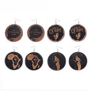 Brincos redondos de madeira da forma África geométrica oscilam o brinco para mulheres
