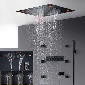 baño eléctrico conducido conjunto de ducha de techo negro mate oculta gran ducha de lluvia cabeza chorros de cuerpo cascada sistema de ducha de masaje de 2 pulgadas